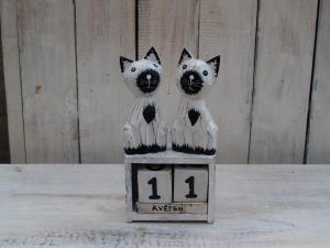 Kalendář 2 kočky - výška 13x7 cm