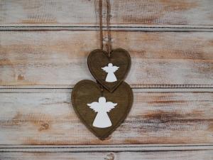 Závěska srdce s andílkem ( set 2 ks )